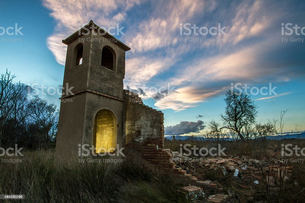 Abandoned derelict tower house stock photo