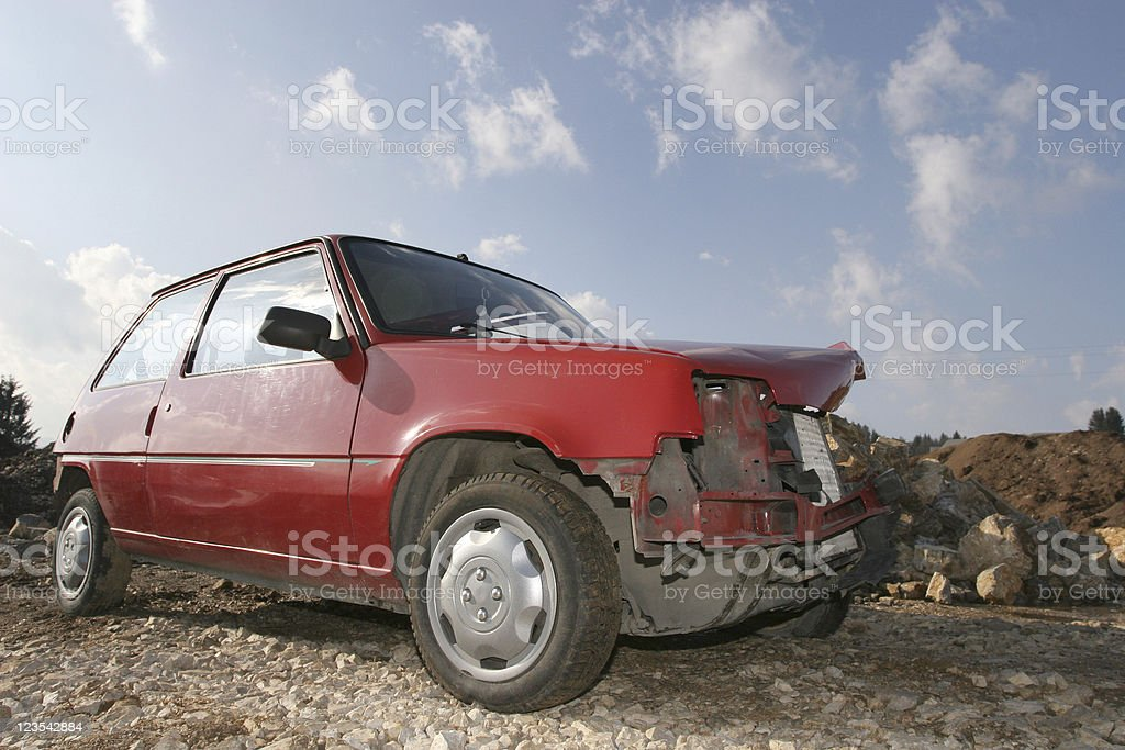 Abandoned destroyed car royalty-free stock photo