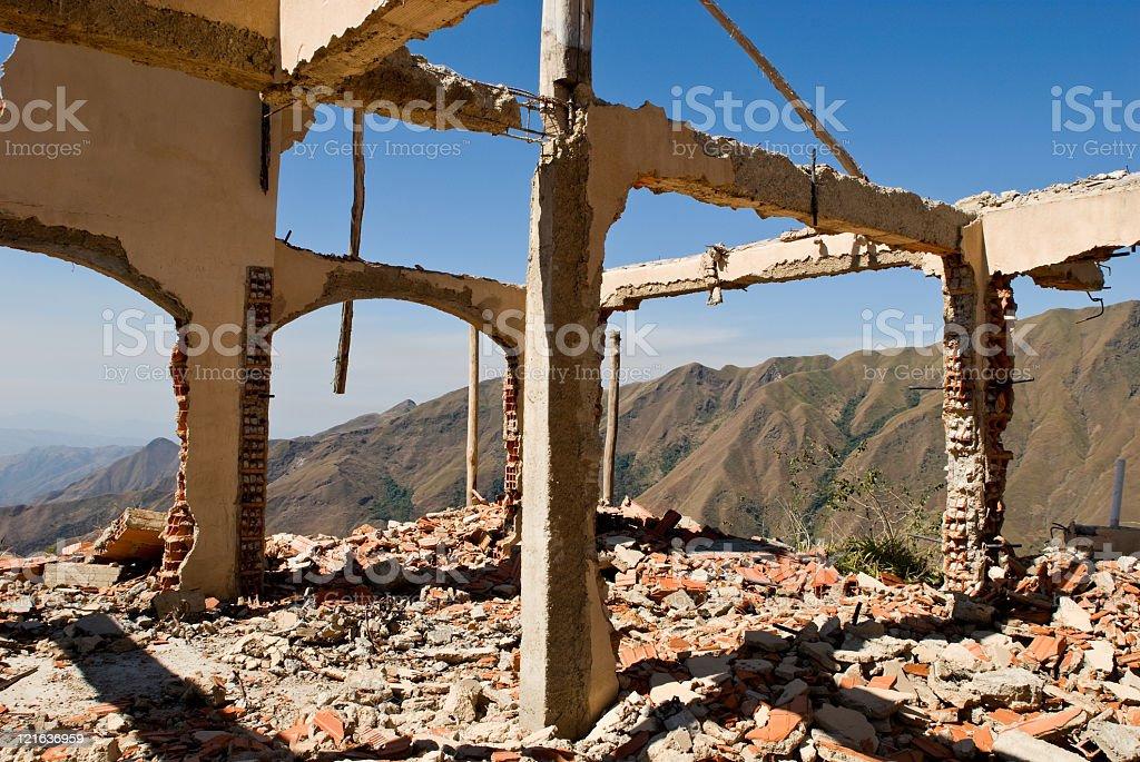 Abandoned  destroyed house royalty-free stock photo