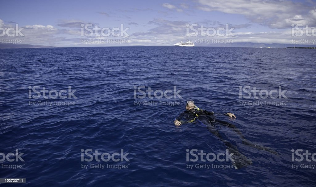 Abandoned diver stock photo