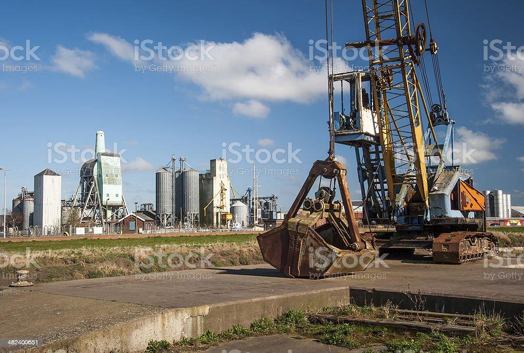 abandoned dockyard crane stock photo