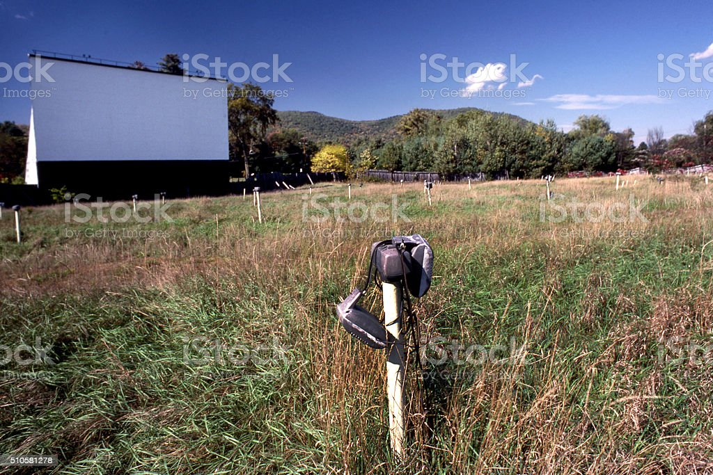 abandoned drive-in movie stock photo