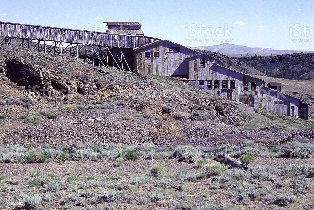 Abandoned Duncan Gold mine Atlantic City South Pass Wyoming stock photo