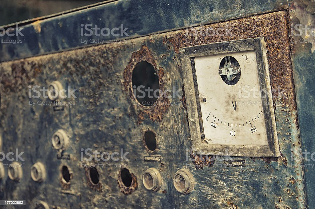 Abandoned electrical meter royalty-free stock photo