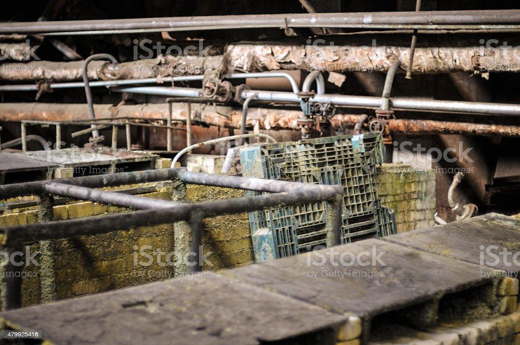 Abandoned factory - bathtub of acid stock photo