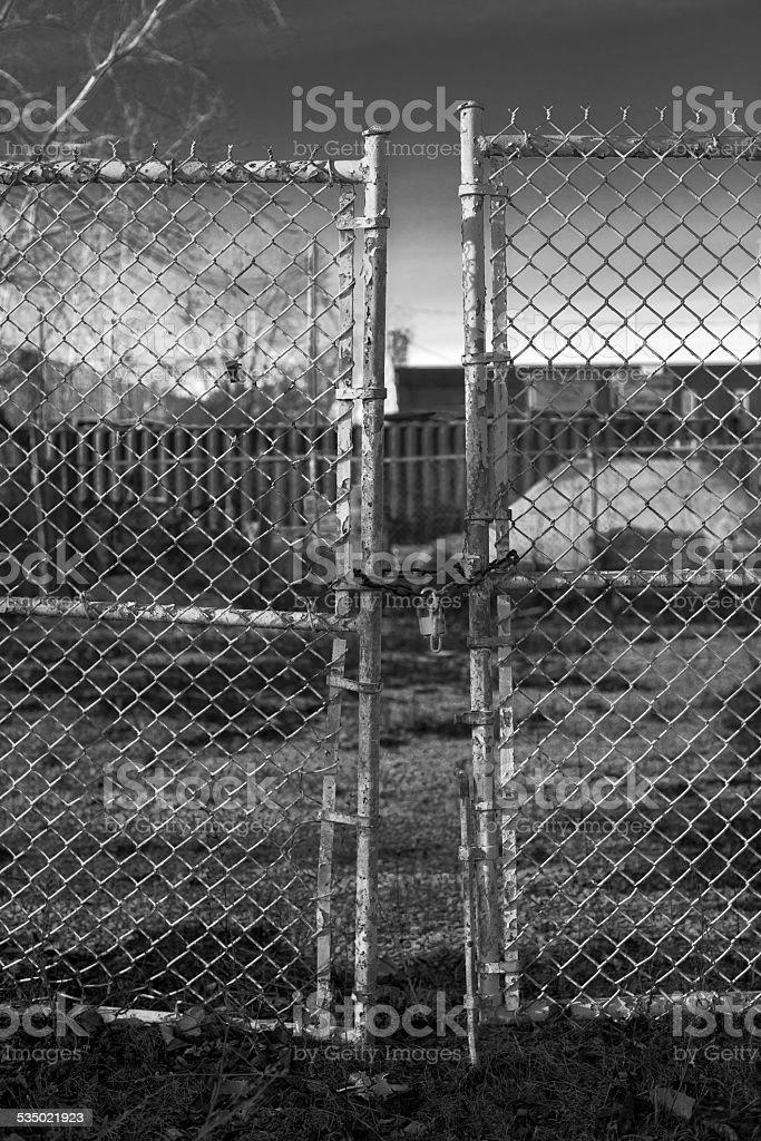 Abandoned Factory Gate stock photo