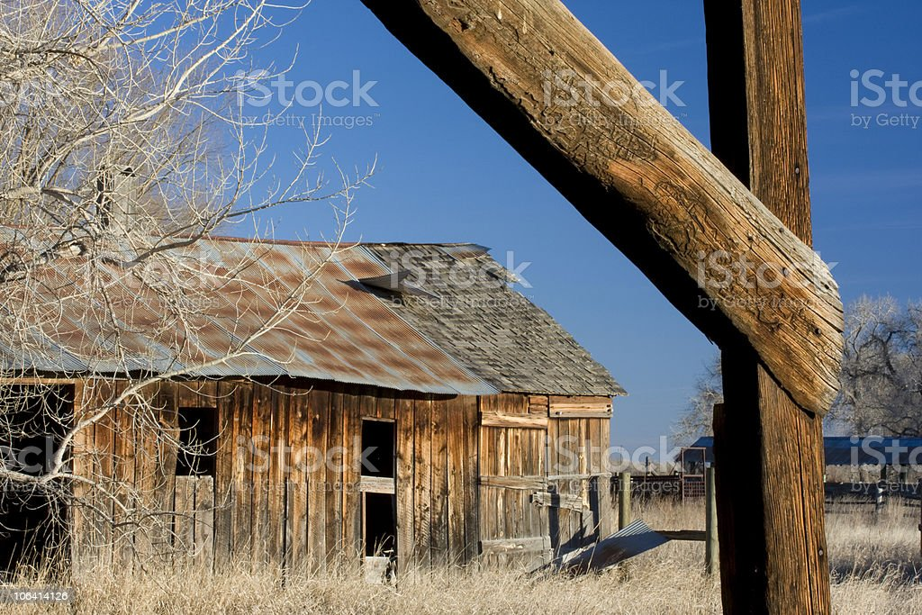 abandoned farm buildings in northern Colorado royalty-free stock photo