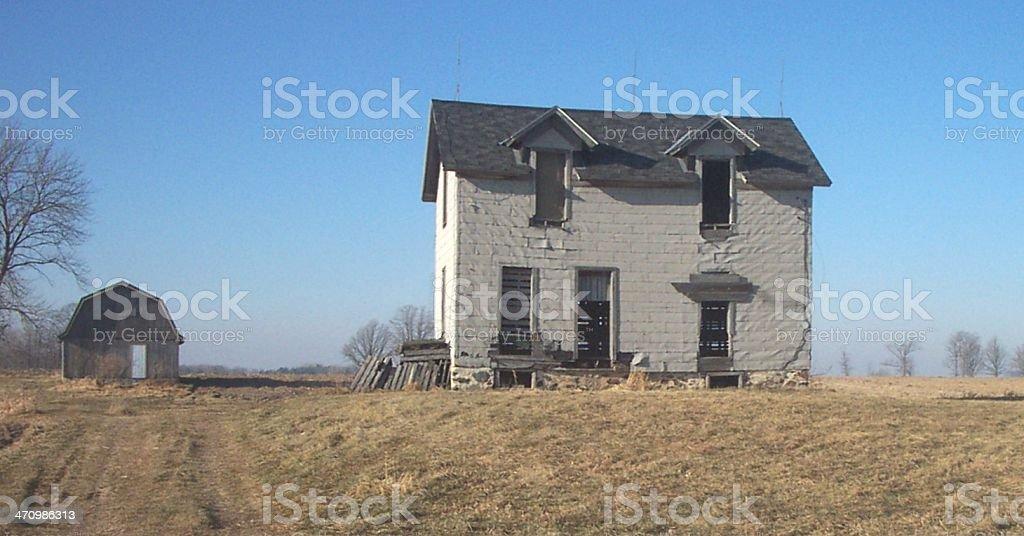 Abandoned Farm House on Hill royalty-free stock photo