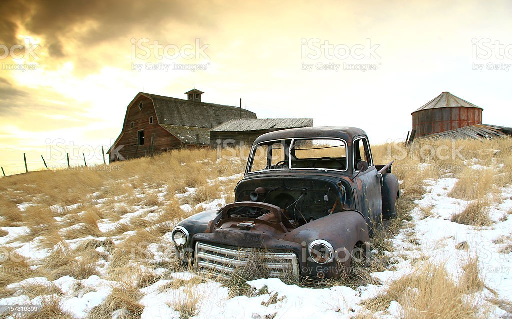 Abandoned Farm on the Great Plains in Winter stock photo