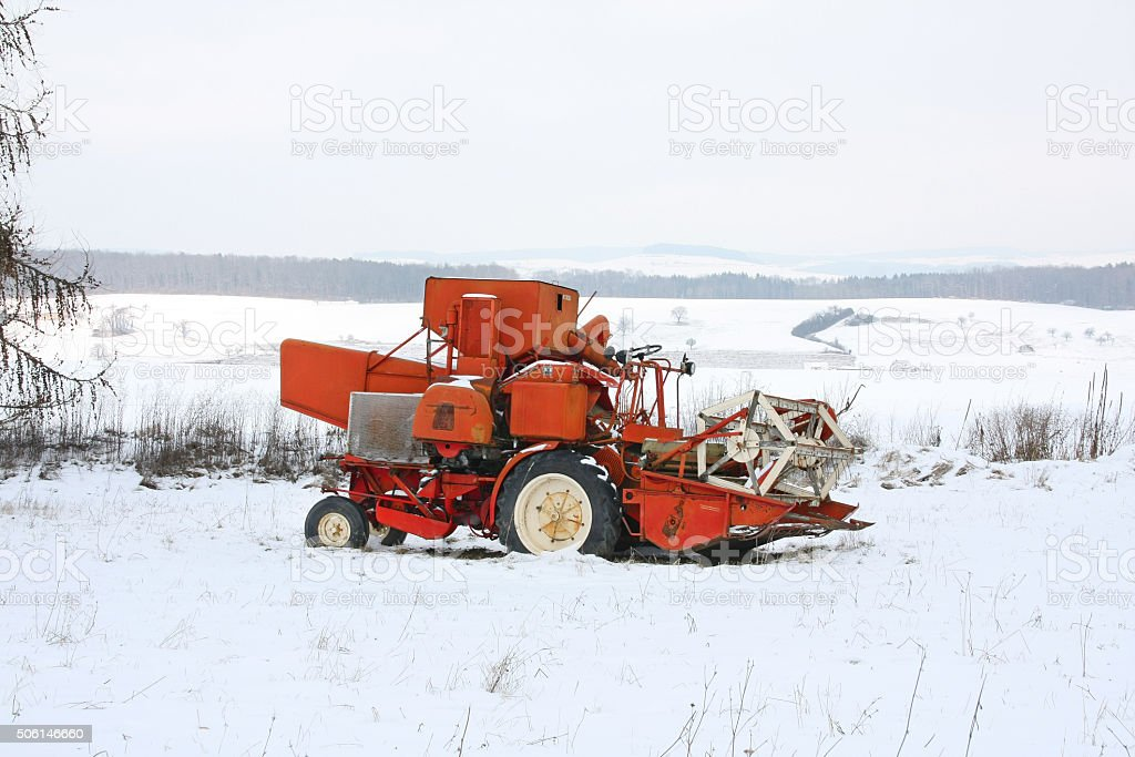 Abandoned farming machine stock photo