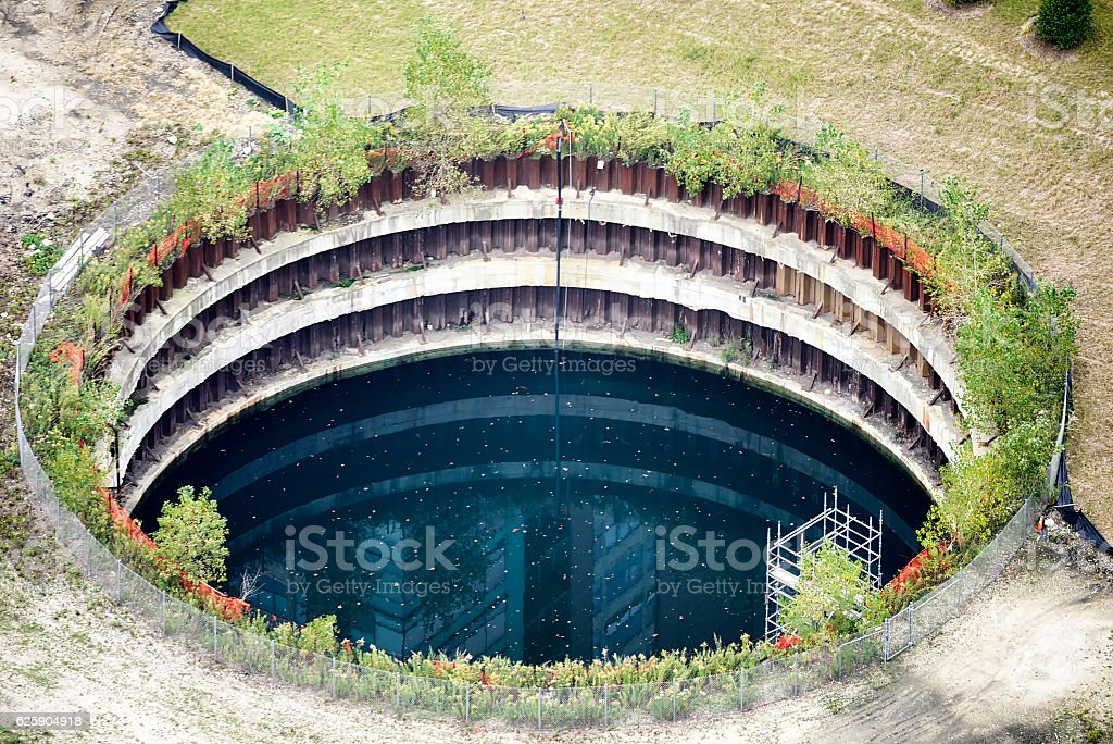Abandoned foundation of  Chicago Spire stock photo