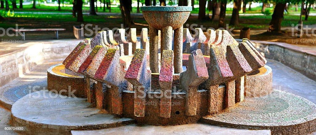 abandoned fountain stock photo