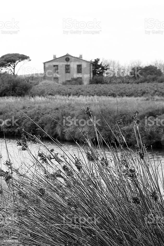Palazzo abbandonato francese in Canal Du Midi in Francia foto stock royalty-free