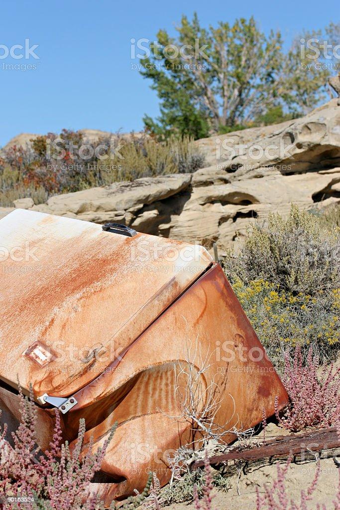 abandoned fridge royalty-free stock photo