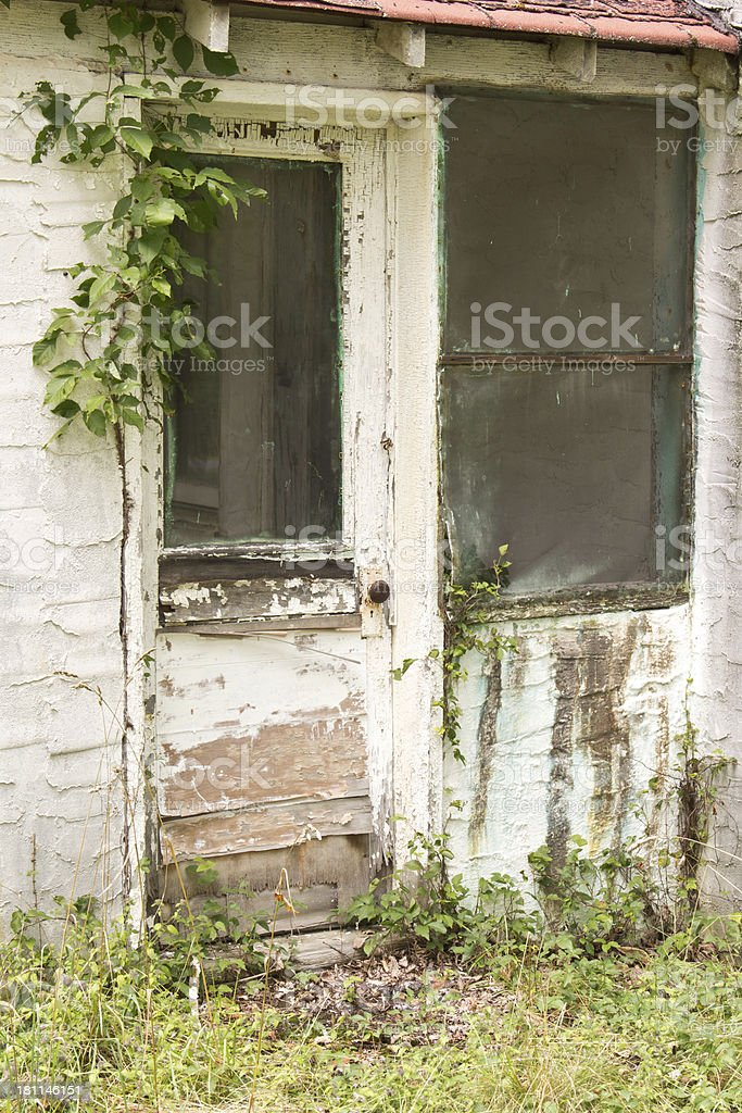 Abandoned Front Door stock photo