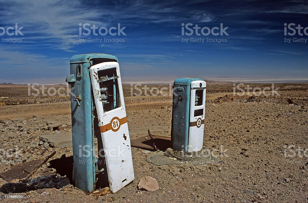 Abandoned Gas Pumps royalty-free stock photo