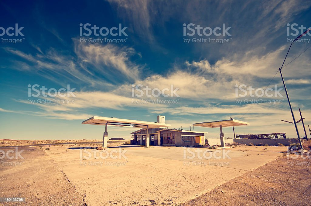 Abandoned Gas Station along the Route 66 stock photo