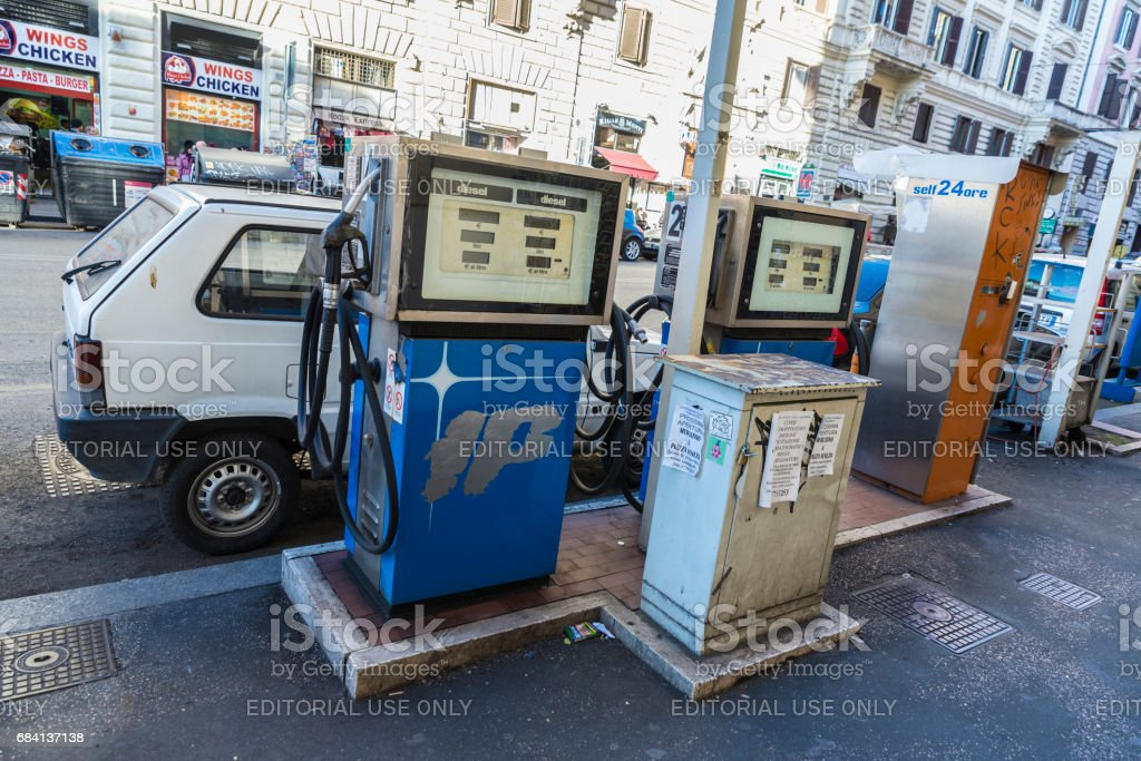 Abandoned gas station on a street in Rome stock photo