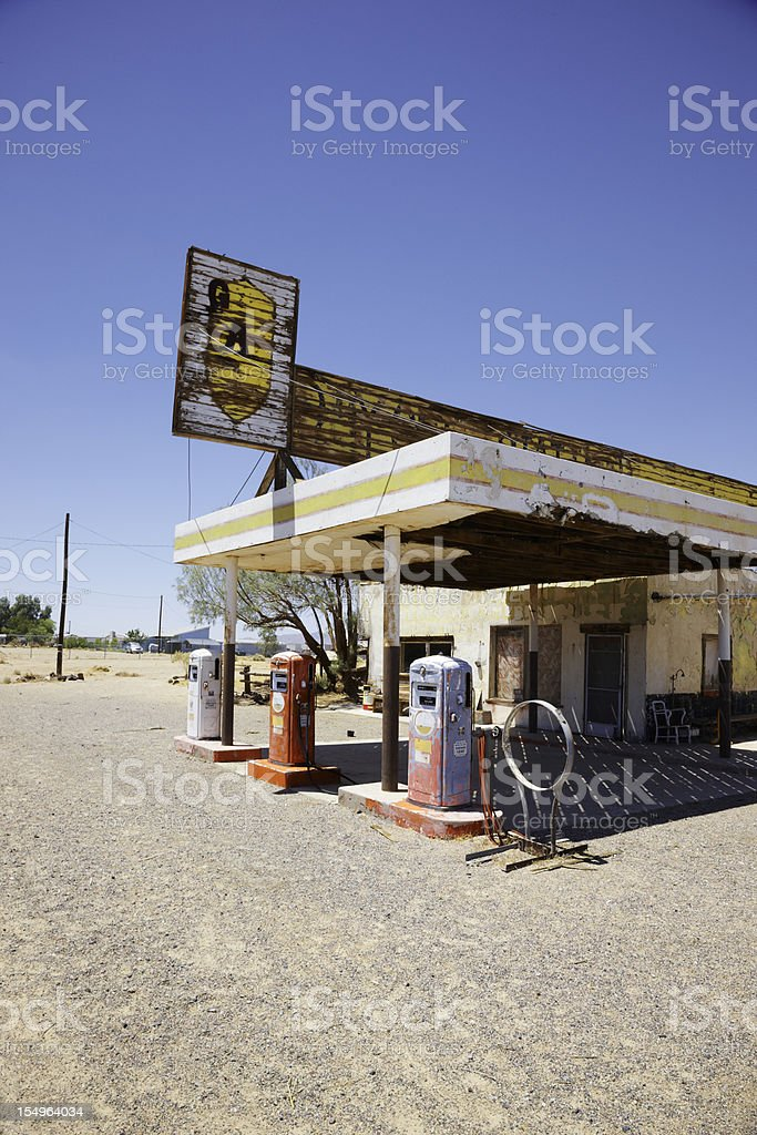 Abandoned Gas Station on Route 66, Desert stock photo