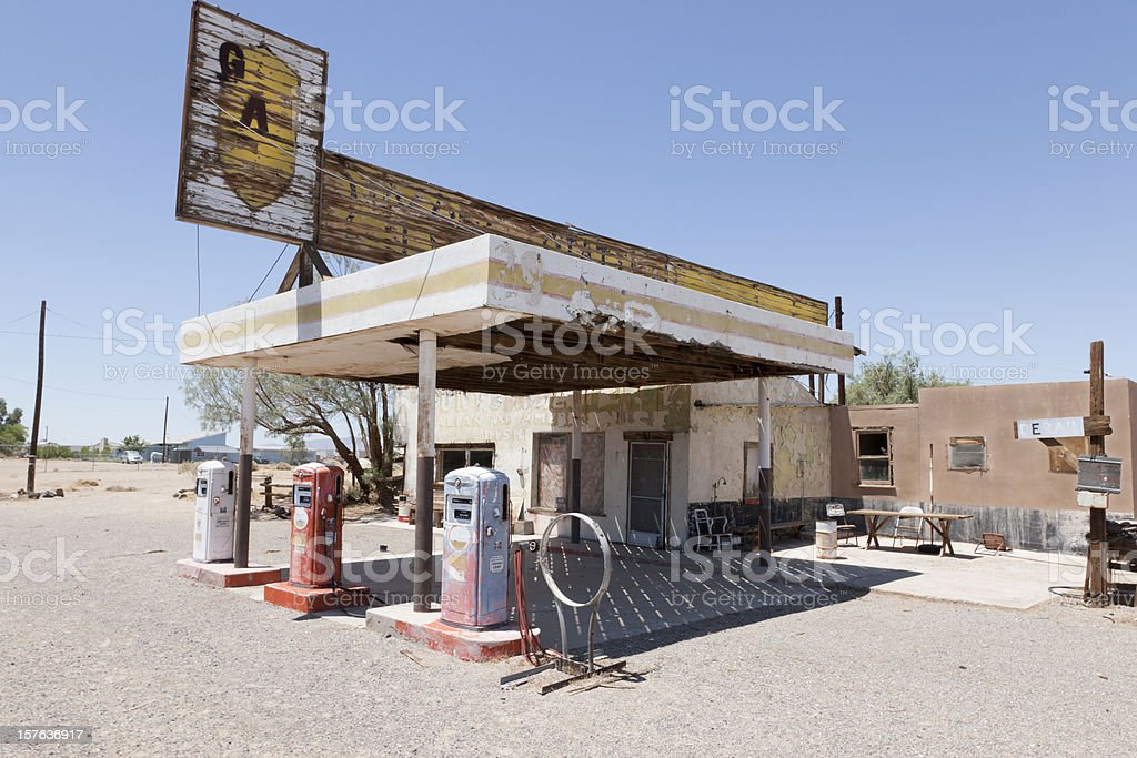 Abandoned Gas Station on Route 66, Desert royalty-free stock photo