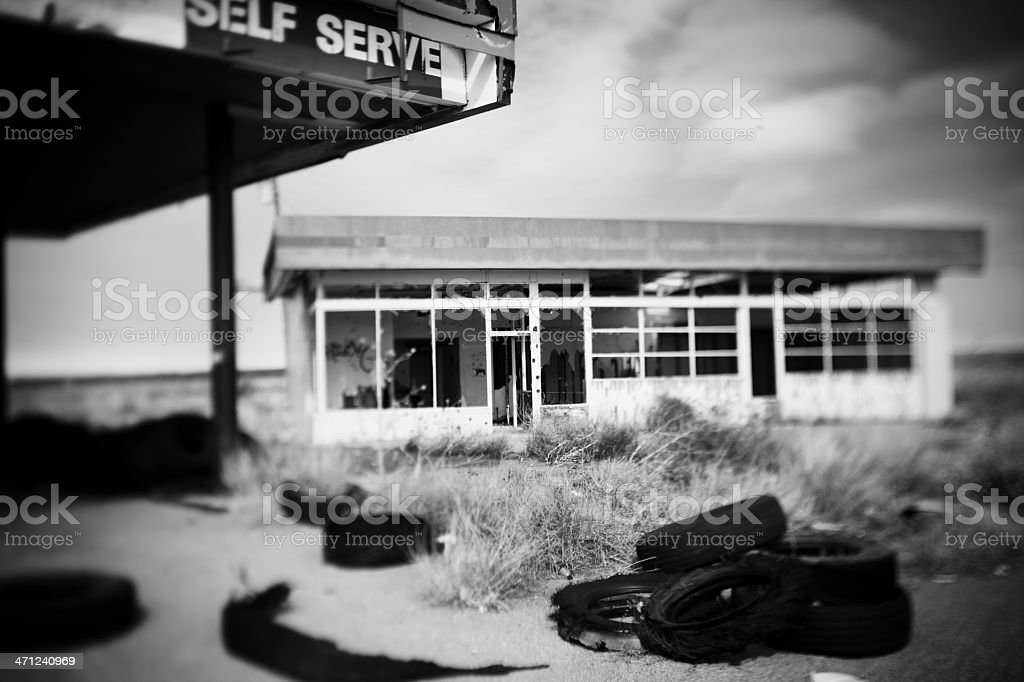 abandoned gas station royalty-free stock photo
