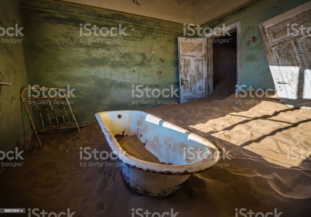 Abandoned ghost town of Kolmanskop in Namibia stock photo