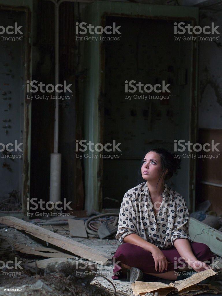 abandoned girl stock photo
