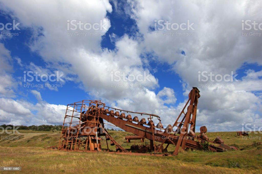 Abandoned gold dredge, Tierra Del Fuego, Chile stock photo