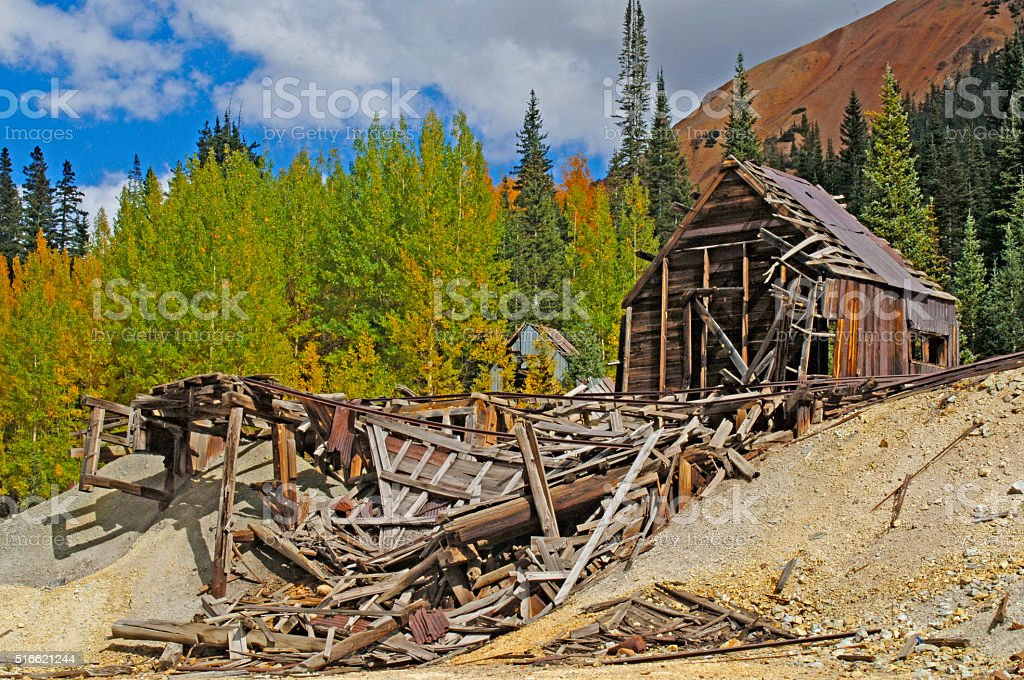 Abandoned Gold Mine in the San Juan Mountains of Colorado stock photo