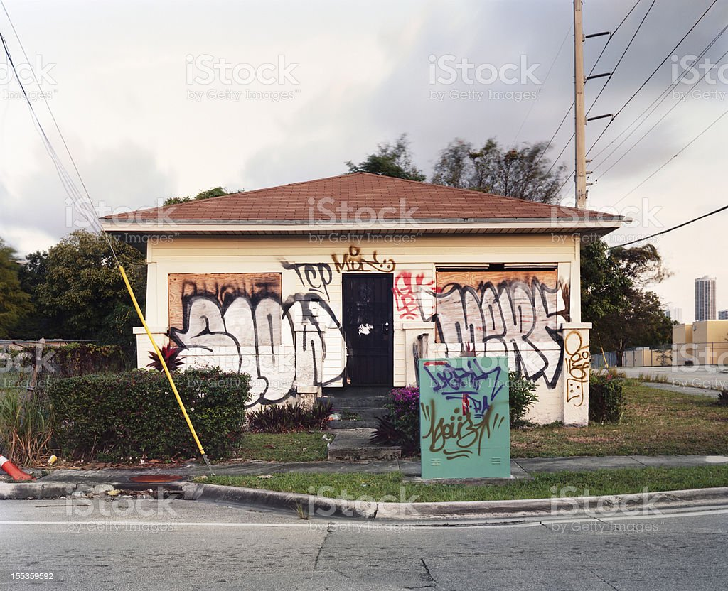 Abandoned Graffiti Covered Vandalized Miami Home royalty-free stock photo