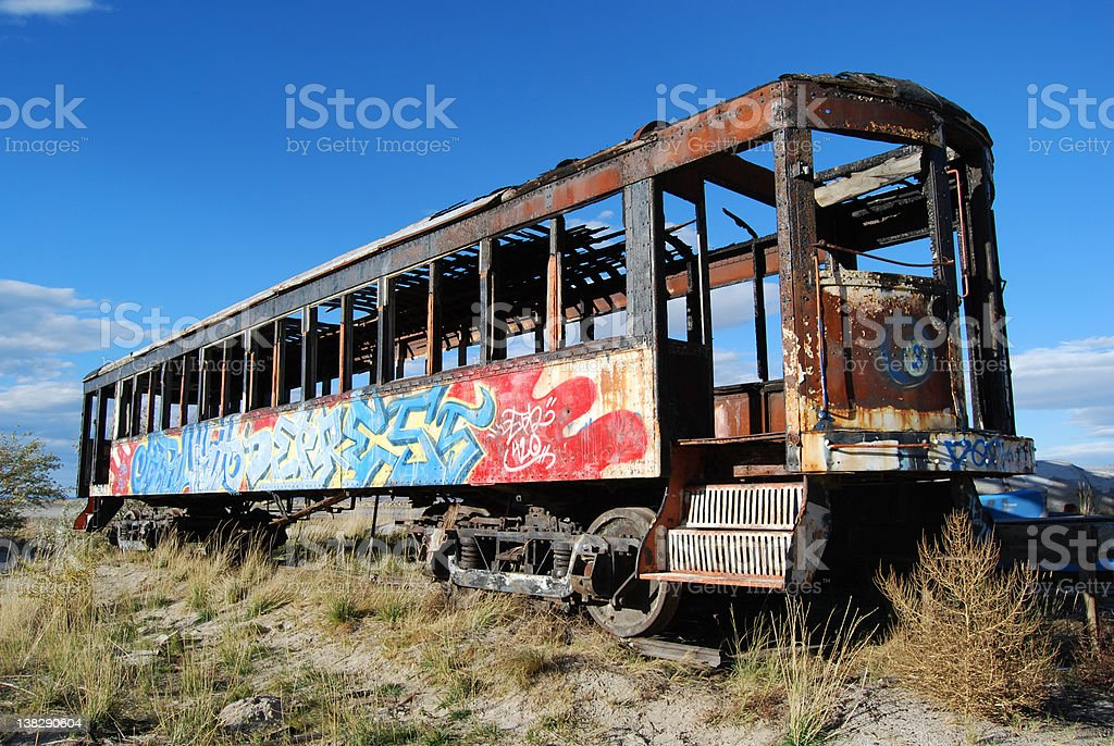 Abandoned Graffiti Train Car royalty-free stock photo