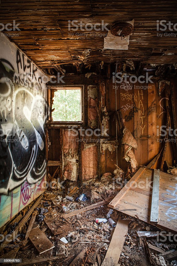 Abandoned Graffitied Barn House In Rustic Canyon, Los Angeles royalty-free stock photo