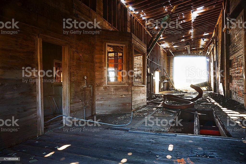 Abandoned Grain Elevator Drive Through stock photo