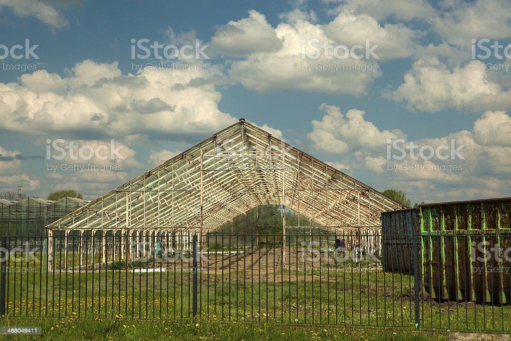 Abandoned greenhouse stock photo