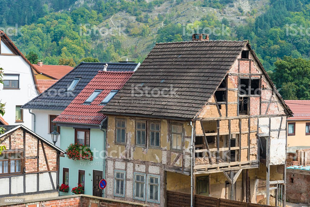 Abandoned half-timbered house stock photo