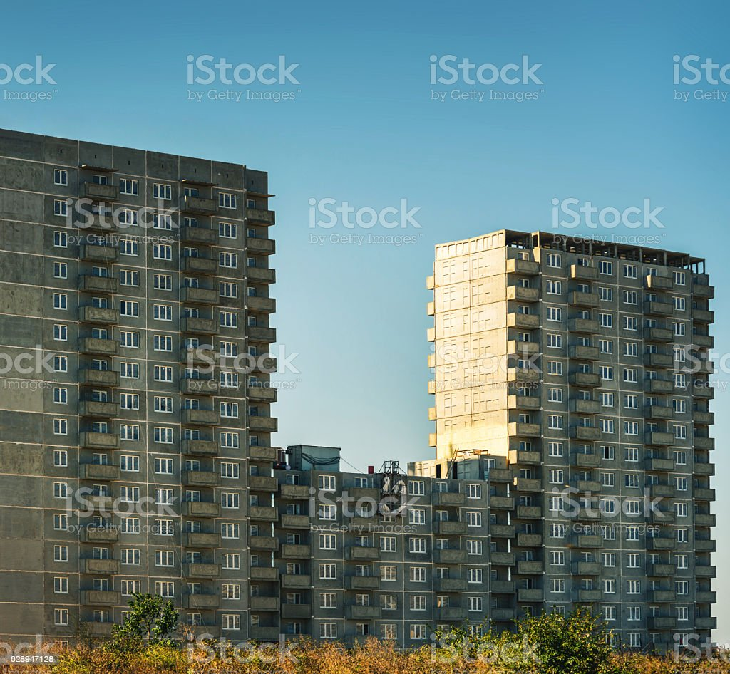 abandoned high-rise construction stock photo