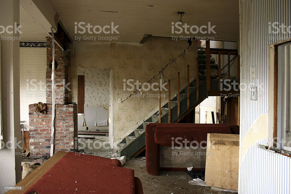 Abandoned Home destroyed interior stairs royalty-free stock photo
