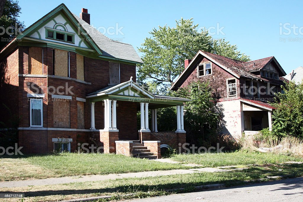 Abandoned home in Detroit, Michigan stock photo