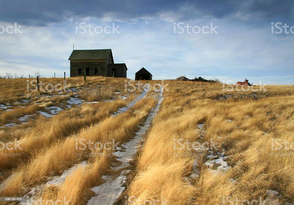 Abandoned Homestead on the Great Plains in Winter stock photo