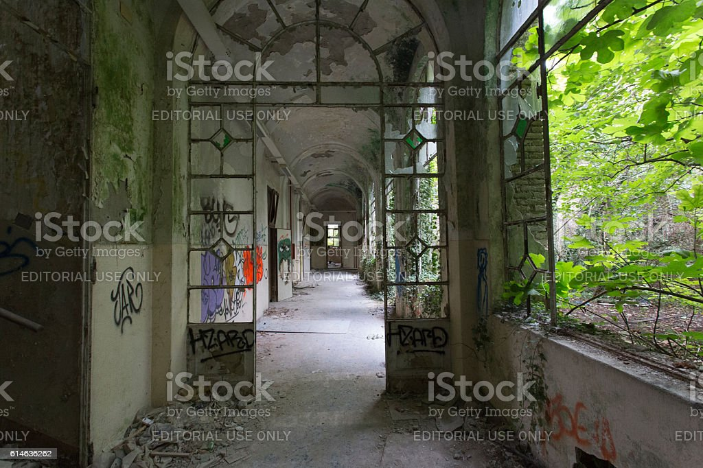 Abandoned Hospital Building called Mombello. stock photo