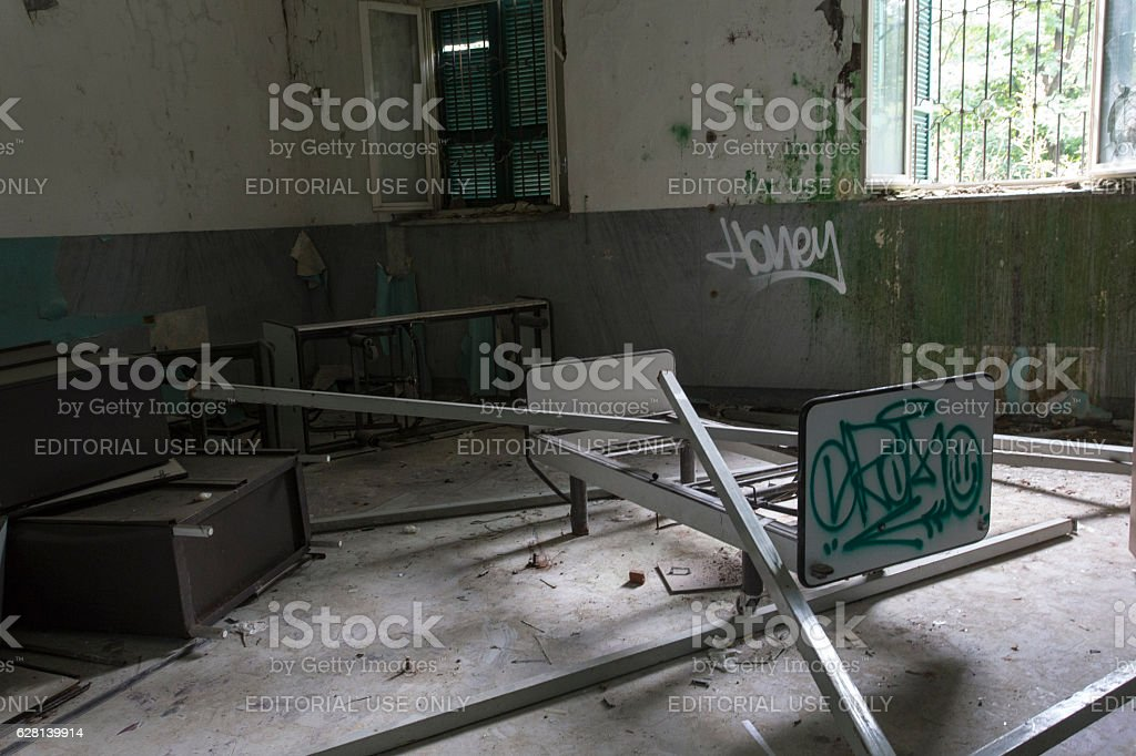 Abandoned Hospital Building called Mombello stock photo
