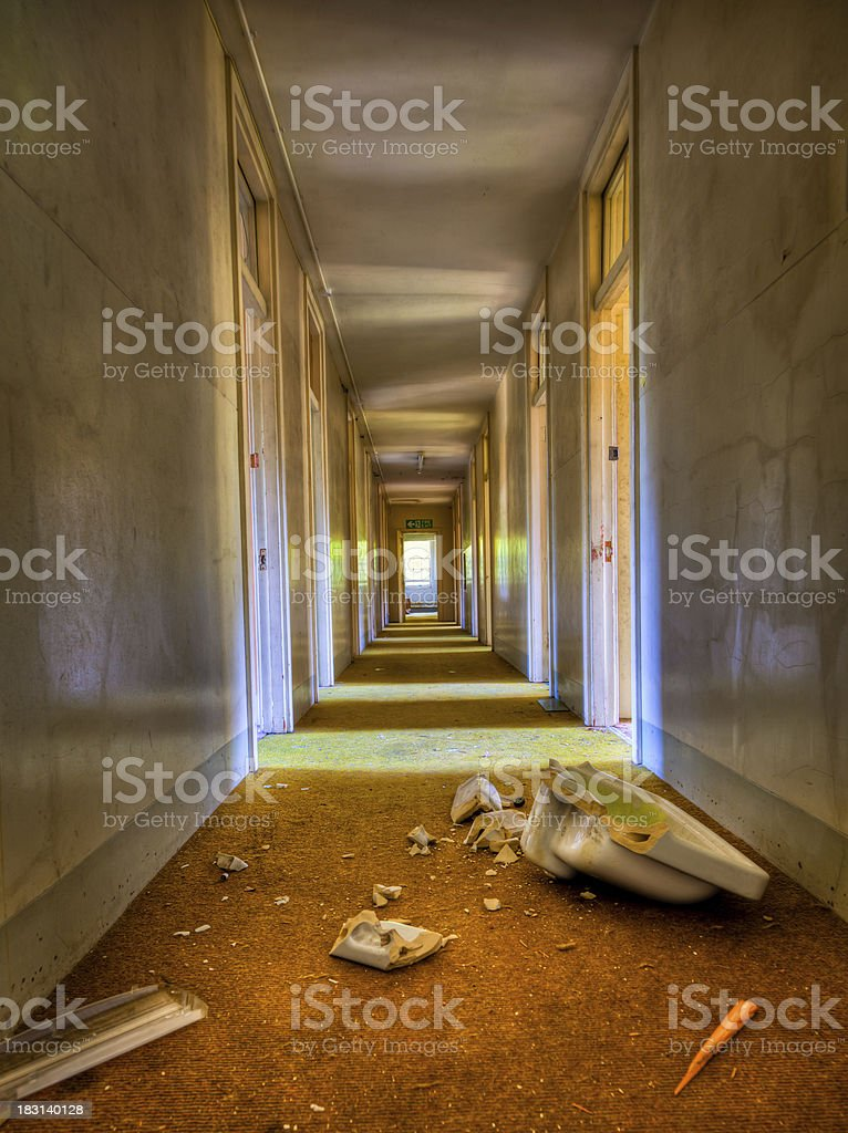 Abandoned Hospital corridor HDR royalty-free stock photo
