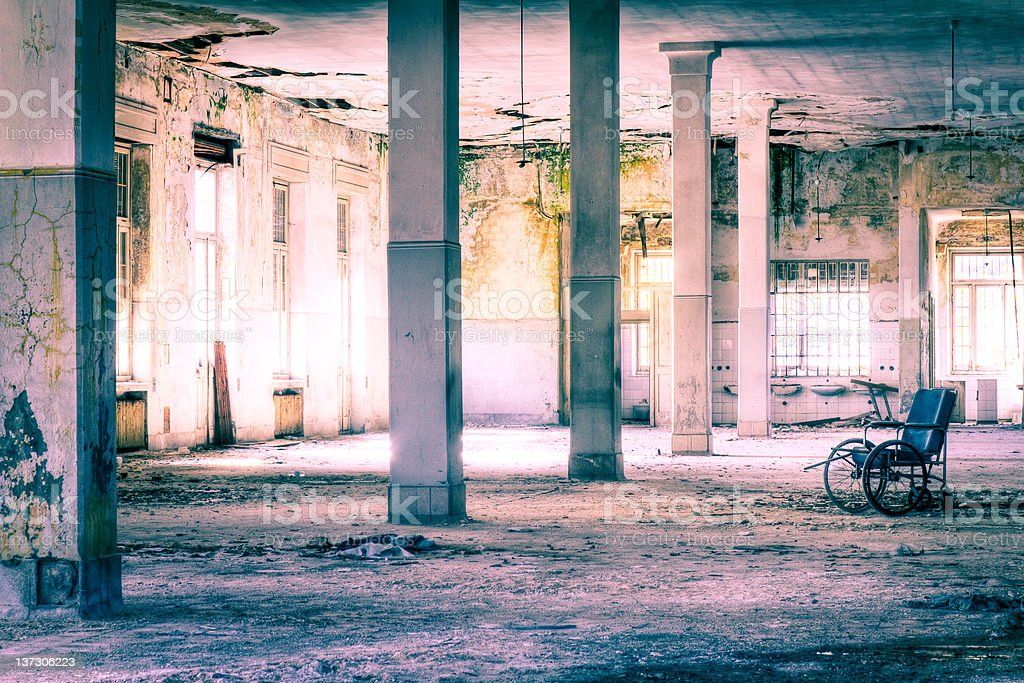 Abandoned hospital hall HDR royalty-free stock photo