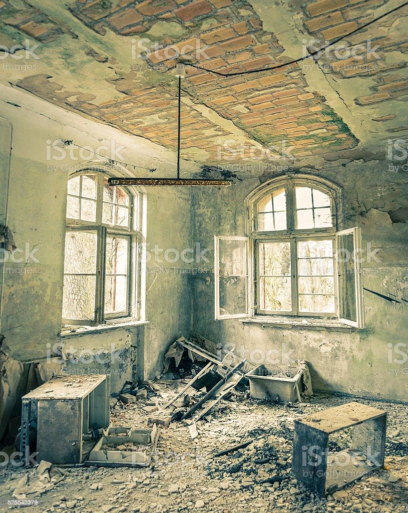 Abandoned Hospital in Beelitz Heilstaetten near Berlin in Germany stock photo