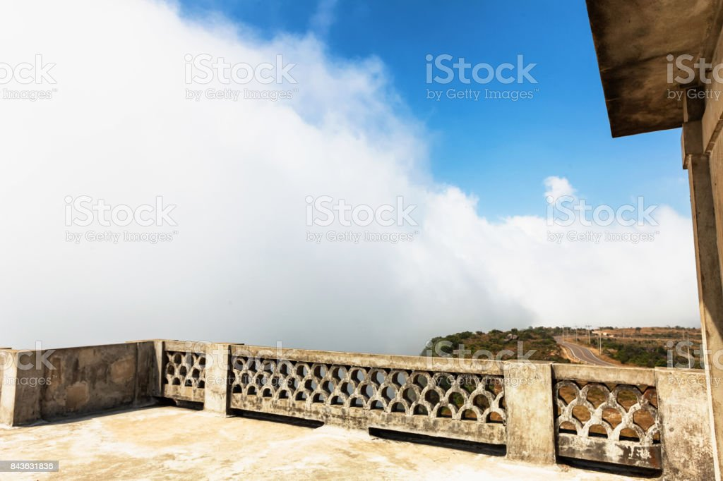 Abandoned hotel Bokor Palace in Ghost town Hill station near Kampot. Cambodia stock photo