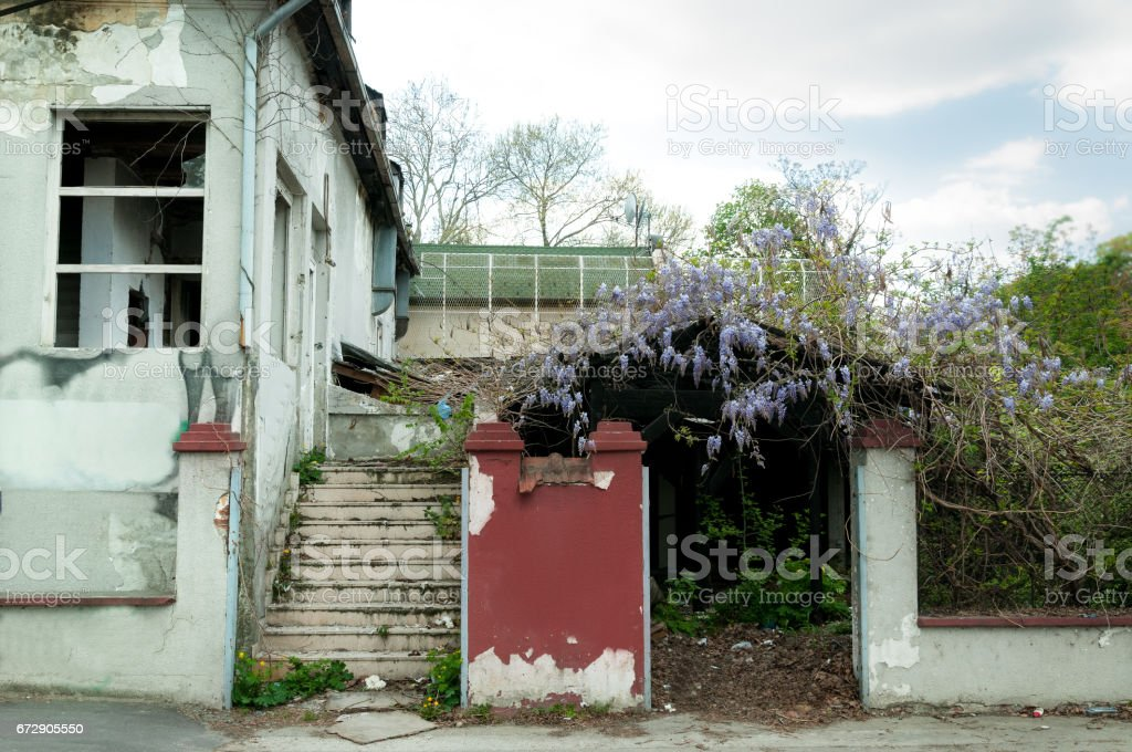 Abandoned house damaged in fire. stock photo