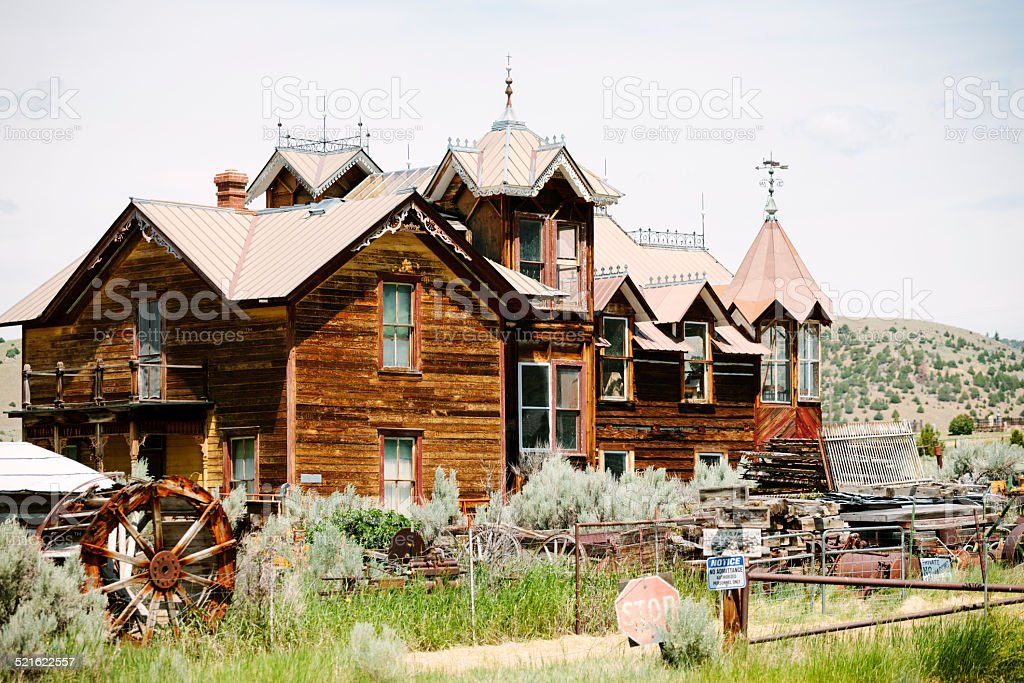 Abandoned house, ghost town stock photo