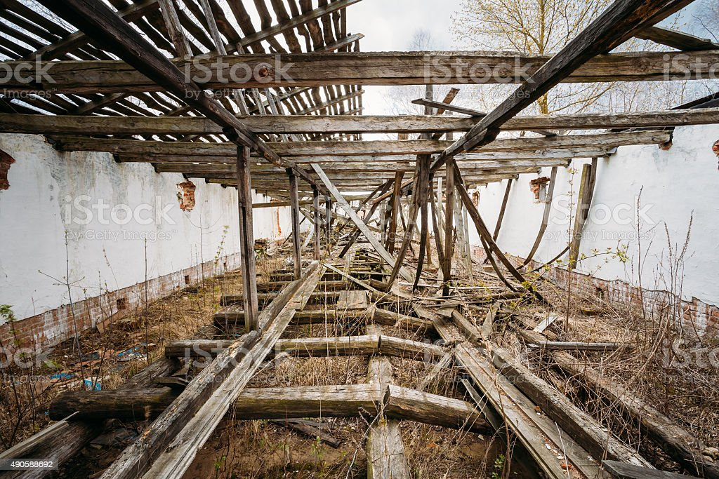 Abandoned House In Belarusian village. Chornobyl disasters. stock photo