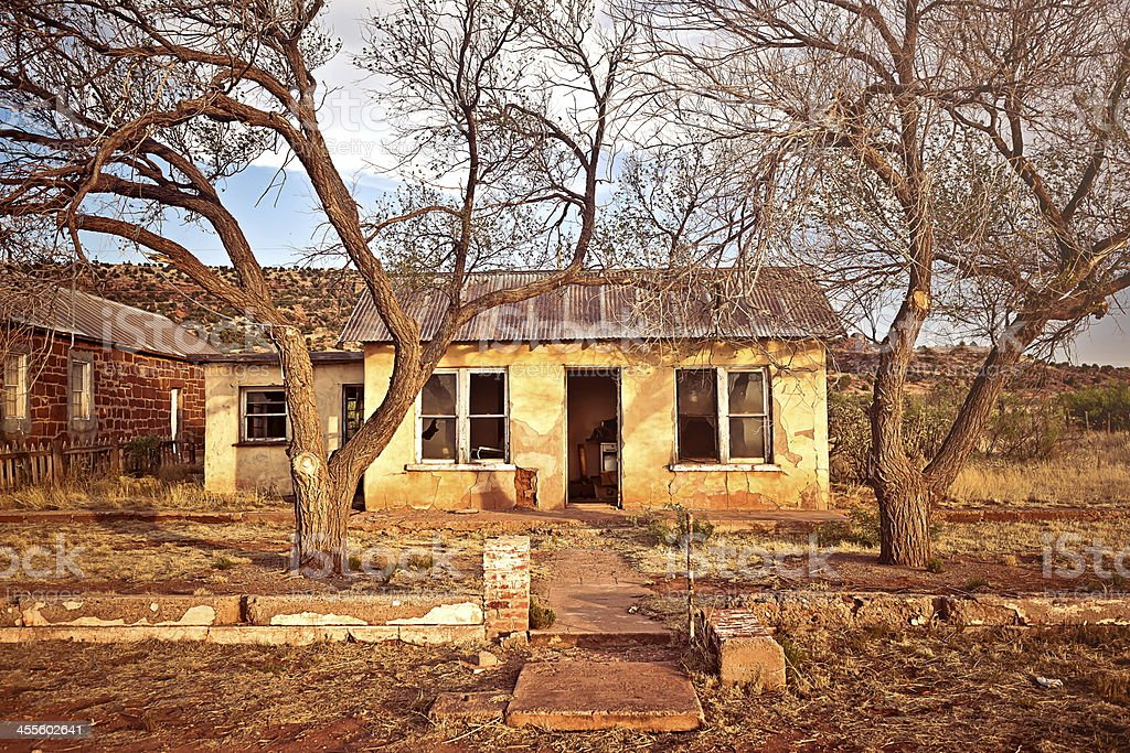 Abandoned house in Cuervo, New Mexico stock photo