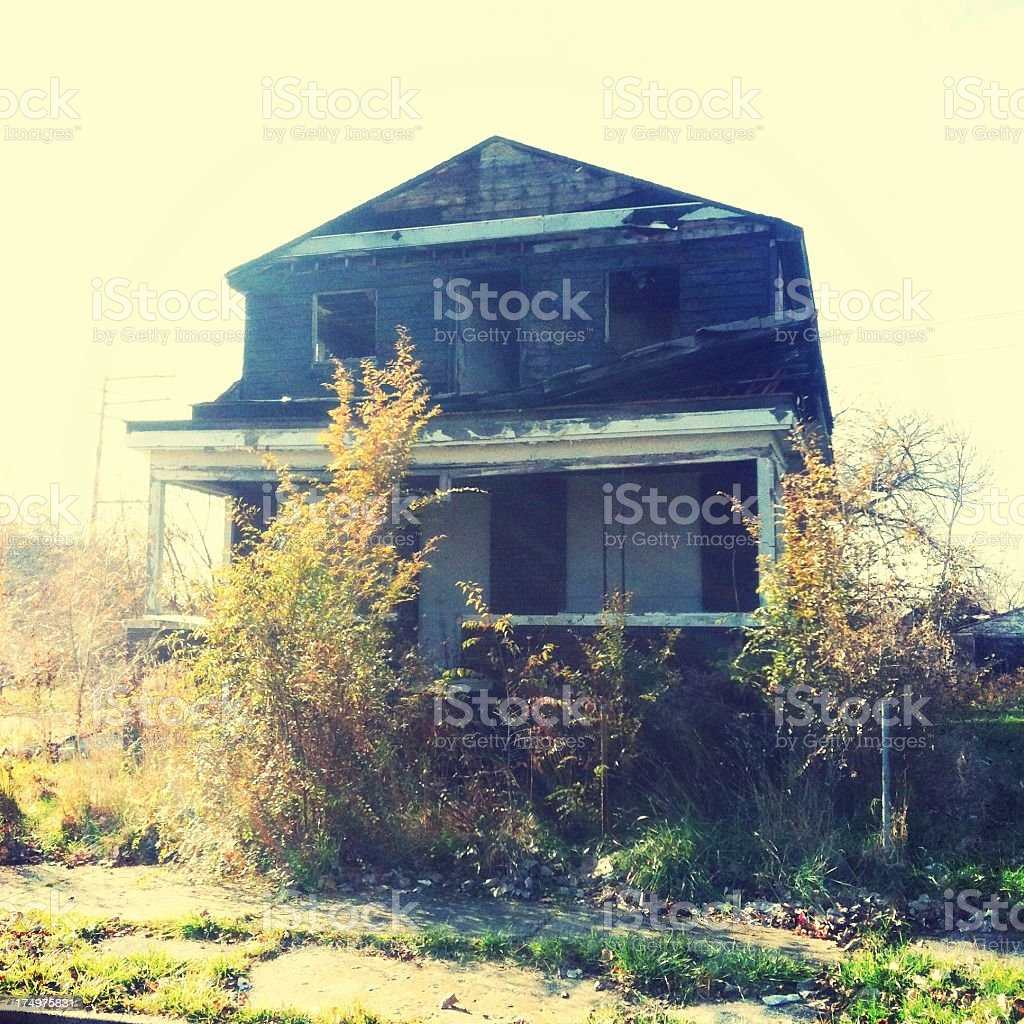 Abandoned house in Detroit royalty-free stock photo